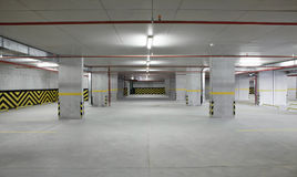 Indoor car parking is empty. Royalty Free Stock Images