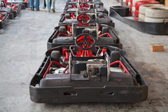 Indoor carting. Indoor go-cart ready to start Stock Photos