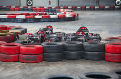 Indoor carting. Race (carts and safety barriers Royalty Free Stock Photography