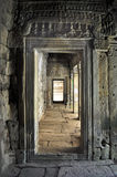Indoor channel of Bayon Temple in Angkor Thom Royalty Free Stock Photo