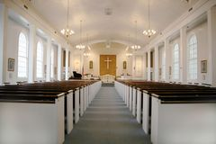 Indoor Christian Church With Lights stock photos
