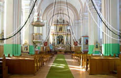Indoor Christian Church With Lights Royalty Free Stock Images