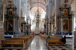Indoor Christian Church With Lights Royalty Free Stock Photography