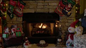 Indoor Christmas Scene with Fire Place