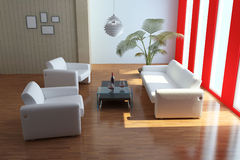Indoor contemporary sitting room Royalty Free Stock Photos