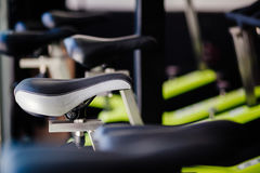 Indoor Cycling bicycle. Set of cycling bikes Stock Photo