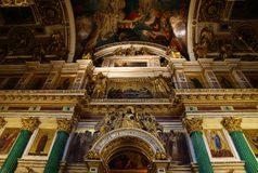 Indoor decoration of St. Isaac Cathedral, St. Petersburg. Russia Royalty Free Stock Photo