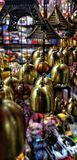 Indoor Decorative bells in a market royalty free stock image