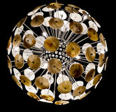 Indoor decorative chandelier shining in the living room. On balck isolate background Royalty Free Stock Photos