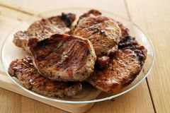 Indoor. Delicious meat at the table Stock Images