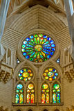 Indoor detail of famous church from Barcelona of Spain, 05 Juny Royalty Free Stock Photography