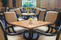 Indoor empty cafe in luxury hotel Stock Images