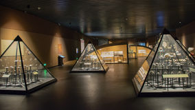 Indoor exhibition hall. Protected by triangular glass cover - corner of Shanxi Datong Museum indoor exhibition hall Stock Image