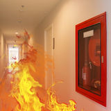 Indoor fire broke out burning in the building. Royalty Free Stock Photography