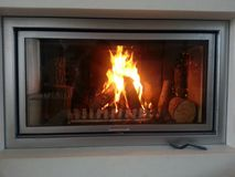 Indoor fireplace Royalty Free Stock Photo