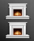 Indoor Fireplace Set On Transparent Background Royalty Free Stock Photos