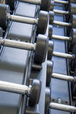 Indoor fitness equipment - free weights stacked on the rack Stock Images