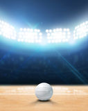 Indoor Floodlit Volleyball Court. A 3D rendering of an indoor volleyball court and ball on a wooden floor under illuminated floodlights royalty free illustration