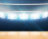 Indoor Floodlit Volleyball Court Royalty Free Stock Images