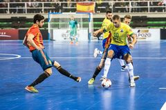 Indoor footsal match of national teams of Spain and Brazil at the Multiusos Pavilion of Caceres royalty free stock photography