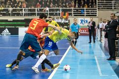 Indoor footsal match of national teams of Spain and Brazil at the Multiusos Pavilion of Caceres stock photo