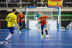 Indoor footsal match of national teams of Spain and Brazil at the Multiusos Pavilion of Caceres royalty free stock image