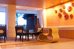 Indoor Furniture. Modern and contemporary indoor furniture of a hotel lounge Royalty Free Stock Photo