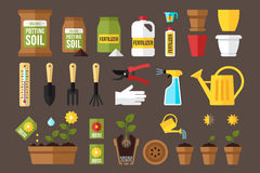 Indoor gardening. Vector set of indoor gardening icons: gardening tools, packages of soil, fertilizers, seeds, flowerpots, planting and growing process, care vector illustration