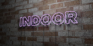 INDOOR - Glowing Neon Sign on stonework wall - 3D rendered royalty free stock illustration. Can be used for online banner ads and direct mailers Stock Photography