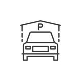 Indoor Guest Parking line icon, outline vector sign, linear pictogram isolated on white. Stock Photography