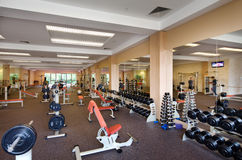 Indoor gym. In a fitness club Royalty Free Stock Image