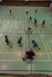 Indoor Hockey Action Game Royalty Free Stock Photos