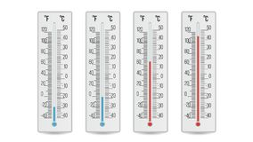 Indoor Home Office Thermometer Vector. Hot And Cold Temperature. Isolated Illustration. Meteorology Thermometer Vector. Scale Celsius, Fahrenheit Isolated Royalty Free Stock Image