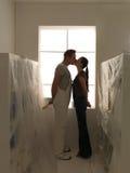 Indoor homework kiss Stock Photo