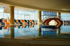Indoor Hotel Swimming Pool Stock Photo