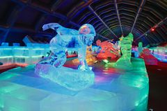 Indoor ice sculpture exhibition Royalty Free Stock Photo