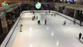 Indoor ice skate in  Central Festival Chiangmai stock video footage