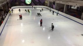 Indoor ice skate in  Central Festival Chiangmai stock footage