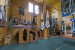 Indoor interior of the church. West Ukraine. Indoor interior of the Old Church. Monument of architecture of 19 centuries. West Ukraine. Summer stock images