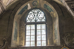 Indoor interior. In Old Church preserved interior decoration and wall-painting of the renaissance in Drogobigh, Ukraine. Monument. Of 14-15 centuries stock photos