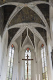 Indoor interior. In Old Church preserved interior decoration and wall-painting of the renaissance in Drogobigh, Ukraine. Monument. Of 14-15 centuries royalty free stock image