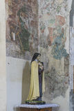 Indoor interior. In Old Church preserved interior decoration and wall-painting of the renaissance in Drogobigh, Ukraine. Monument. Of 14-15 centuries stock image
