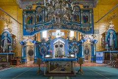 Indoor interior. In Old Church preserved interior decoration and wall-painting of the renaissance in Goshev, Ukraine. Monument of. Indoor interior. In Old Church royalty free stock images