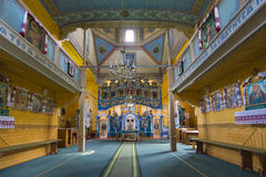 Indoor interior. In Old Church preserved interior decoration and wall-painting of the renaissance in Goshev, Ukraine. Monument of. Indoor interior. In Old Church royalty free stock image