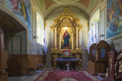 Indoor interior. In Old Church preserved interior decoration and wall-painting of the renaissance in Goshev, Ukraine. Monument of. 18 century. Europe stock photos