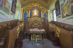 Indoor interior. In Old Church preserved interior decoration and wall-painting of the renaissance in Goshev, Ukraine. Monument of. 18 century. Europe royalty free stock image