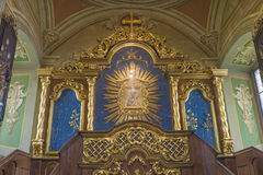 Indoor interior. In Old Church preserved interior decoration and wall-painting of the renaissance in Goshev, Ukraine. Monument of. 18 century. Europe stock photo