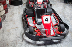 Indoor karting. Race (2 kart and safety barriers Stock Images