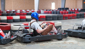 Indoor karting. Race (karts ready to start Royalty Free Stock Image