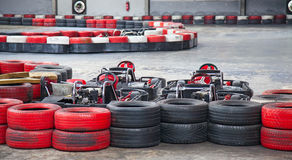 Indoor karting. Race (kart and safety barriers Royalty Free Stock Photography